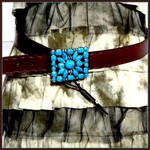 Accessories - Turquoise Floral Design Buckle & Brn Leather Belt